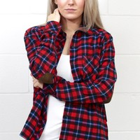 Out of the Woods Elbow Patch Plaid Flannel {Red Mix}