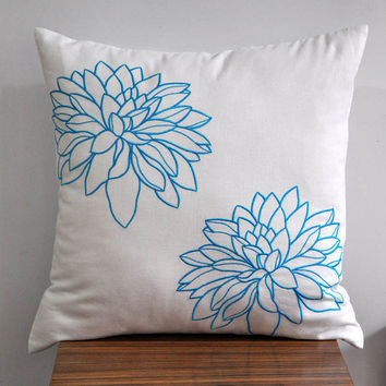 Blue Twin Flowers Throw Pillow Cover 18 x 18 White by Kainkain