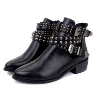 Black Studded Buckle Strap PU Ankle Boots