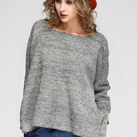 Women's Winter Sweaters Wing Pattern Irregular Batwing sleeve Knitted Pullover Loose Sweater D_L (Color: Gray) = 1902656004