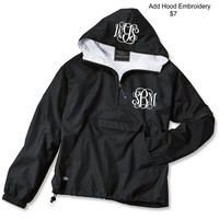Youth Black Monogrammed Personalized Half Zip Rain Jacket Pullover by Charles River Apparel