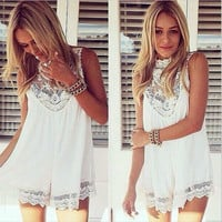 Lace Mini Dress Cover-Up in Black or White