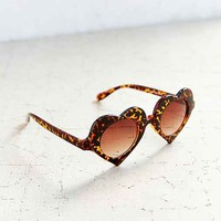 Psychic Heart Frame Sunglasses- Brown One