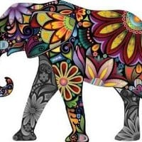 """The Cheerful Elephant - 18""""W x 13""""H - Peel and Stick Wall Decal by Wallmonkeys"""