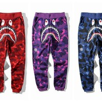 Bape Aape Shark Men's Fashion Winter Camo Pants F