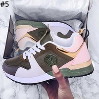 LV street fashion men and women color matching old flower sports running shoes #5