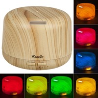KEDSUM 300ML Aroma Essential Oil Diffuser Sonic Air Humidifier with 4 Timer Settings , 2 Mist Amount Mode , 7colors LED Changing Lights,6 Hours Continous Mist Mode - Auto Off for Home, Office, Spa