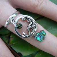 mermaid charm ring, abalone mermaid,  siren pendant ,abalone ring, paua ring