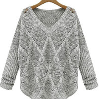 Grey Long Sleeve V-Neck Fence Accent Knitted Top