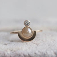 White Diamond and Rose Cut Diamond Semicircle Solid 14k Gold Ring | Custom Engagement Ring
