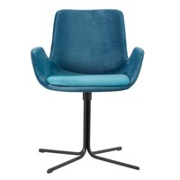 Malory Swivel Chair In Blue Fabric And Matte Black Base - Set Of 2