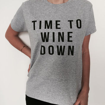 Time to wine down Tshirt fashion funny yoga gym top work out womens clothes style