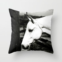 white horse Throw Pillow by Marianna Tankelevich