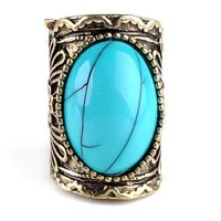 Antique Vintage Retro Blue Gem Stone Classic Style Oval Ring