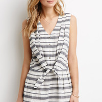 Striped Tie-Front Buttoned Romper