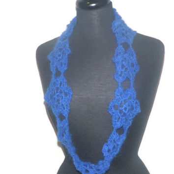Starry Night mohair cowl scarf in royal blue