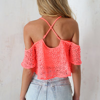 Coral Lace Crop | SABO SKIRT