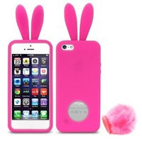 iPhone SE Case, Fosmon JEL Series Design Silicone Case for Apple iPhone SE / 5S / 5 - Bunny with tail - Hot Pink