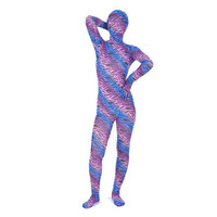 Full Body Purple And Blue Special Pattern Lycra Spandex Zentai Suit - $38.99