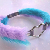 Heart Choker Collar, Pastel Kawaii Furry Chockers, Pastel Goth, Lilac Turquoise, Fluffy Collar, Daddy Choker, DDLG Collar, 3 Styles in 1