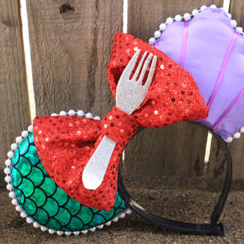 The Little Mermaid Ariel-Inspired Mouse Ear Headband with Fork & Bow