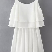 White Ruffled Sleeveless Mini Dress