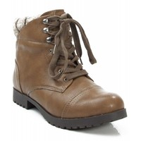 Qupid Wyatte-05X Padded Collar Ankle Boot TAUPE