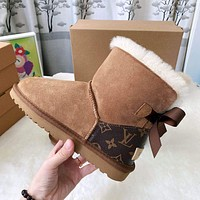 UGG x LV Louis Vuitton fashion stitching leather snow boots men and women non-slip and warm snow shoes 1