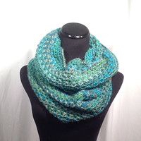 Green and Turquoise Striped Crochet Infinity Scarf