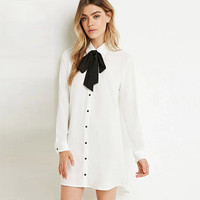 Bow Tie Single Breasted Long Sleeves Lapel Collar Dress