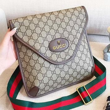 GUCCI Fashion New Stripe More Letter Leather Women Shopping Leisure Shoulder Bag Crossbody Bag Handbag