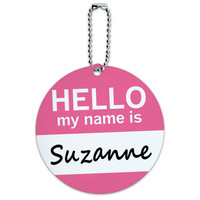 Suzanne Hello My Name Is Round ID Card Luggage Tag