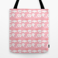 Pink Adorable Halloween Pattern Tote Bag by Adorkible