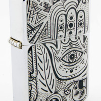Windproof Customized Chrome Oil Lighter - B&W Hamsa Hand #2 - Collectable, Refillable, Damn Cool. :)