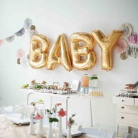 """Hoomall 16"""" BABY/LOVE Letter Wedding Balloons Gold Foil Balloons Baby Shower Wedding Party Decorations Marriage Balloons 1Set"""
