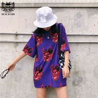 Tops and Tees T-Shirt Rocksir Harajuku Cartoon Devil Print T-Shirt Women Hip Hop Loose Cotton  Tee 2018 Summer Casual O-neck Short Sleeve T Shirts AT_60_4 AT_60_4