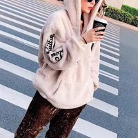 """Louis Vuitton"" ""Women Plush Fashion Letter Embroidery Long Sleeve Cardigan Hoodie Coat"