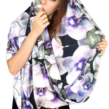 Oversized Orchids Circle Scarf