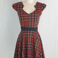 Mid-length Cap Sleeves A-line Plaid and Subtract Dress in Tartan