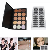 15 Color Professional Makeup Camouflage Concealer Palette+10 Pairs Long False Eyelashes