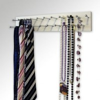 """Tie and/or Necklace Rack - 14"""" White"""