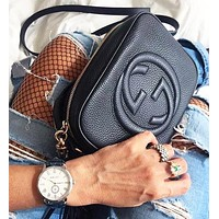 Gucci Women Leather Stylish Tassel Crossbody Satchel Shoulder Bag Black