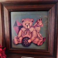 Picture Framed Art Print Old Fashioned Toys Bear Rocking Horse Childrens Room Wall Hanging Vintage Home Decor FREE SHIPPING
