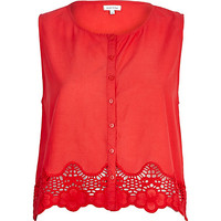 River Island Womens Red lace trim button down crop top