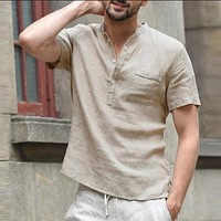 Men's Shirt  Summer Short Sleeve Male Blouse Top New Style Comfortable Cotton And Shirt Men