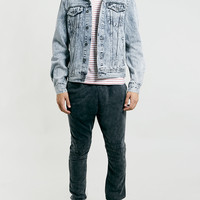 ACID WASH BORG COLLAR DENIM WESTERN JACKET - Topman