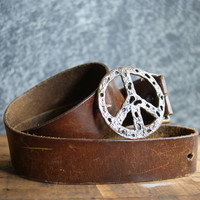 Vintage Peace Sign Belt Buckle on a Wide Brown Leather Belt |  Unisex Accessory | Copper Washed Metal | Boho Style | Hippie Era