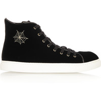 Charlotte Olympia - Purrrfect embroidered velvet high-top sneakers