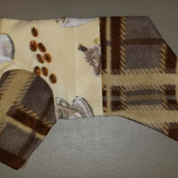Coffee Time fleece Dog pajama. Size small. Machine washable and open underneath for potty and #2 breaks.