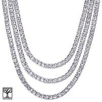 "Jewelry Kay style Men's Iced Out Triple Silver Plated Tennis Chain Necklace SET  18"" / 20"" / 22"""